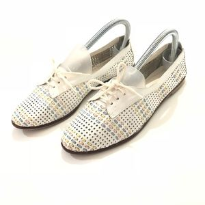 Shoes - VINTAGE BRAZIL WOVEN LEATHER OXFORDS WHITE 7.5